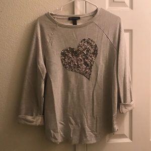 INC Sequin Heart Sweatshirt